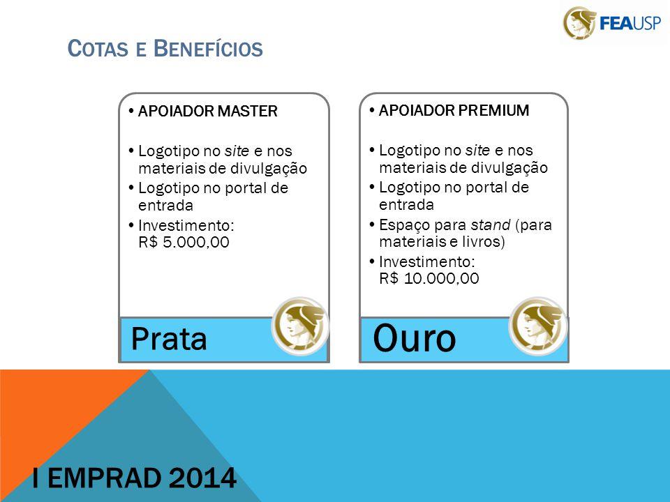 Ouro Prata I EMPRAD 2014 Cotas e Benefícios APOIADOR MASTER