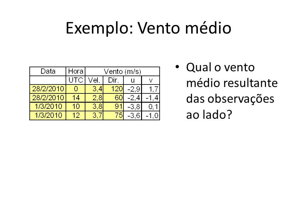 Exemplo: Vento médio Qual o vento médio resultante das observações ao lado