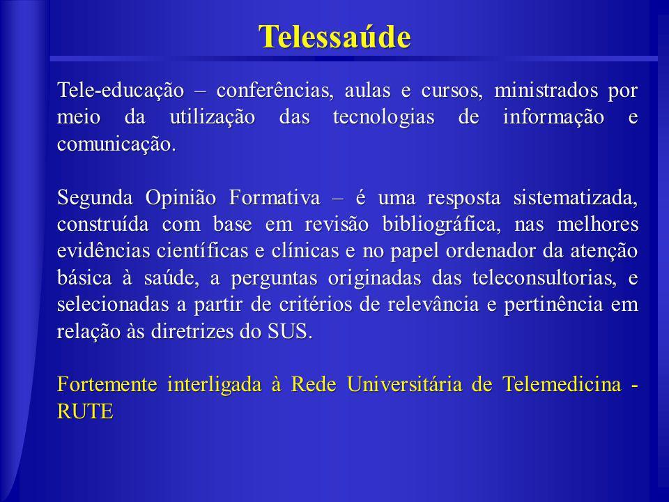 Telessaúde Tele-educação – conferências, aulas e cursos, ministrados por meio da utilização das tecnologias de informação e comunicação.