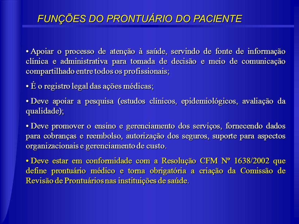FUNÇÕES DO PRONTUÁRIO DO PACIENTE