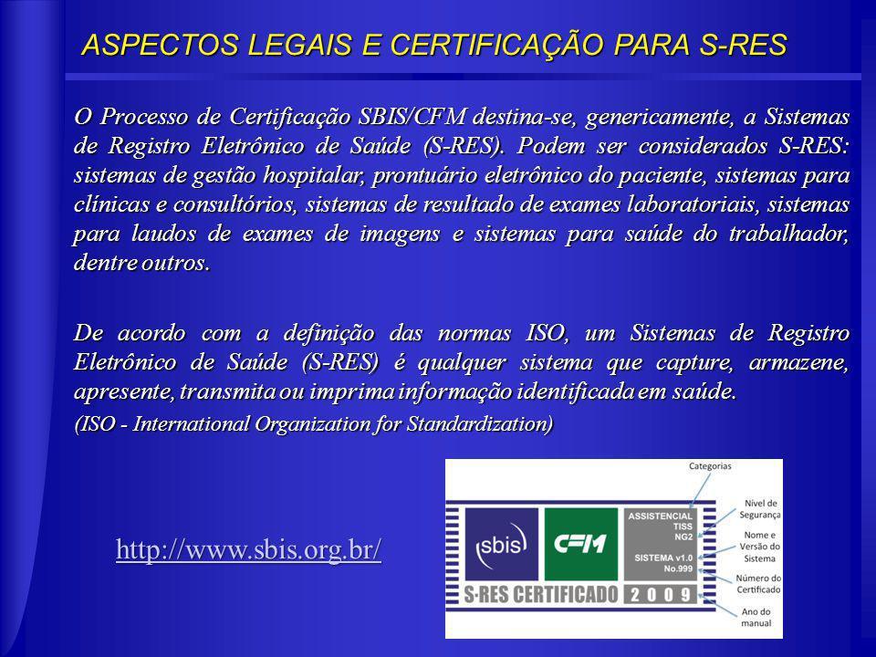 ASPECTOS LEGAIS E CERTIFICAÇÃO PARA S-RES