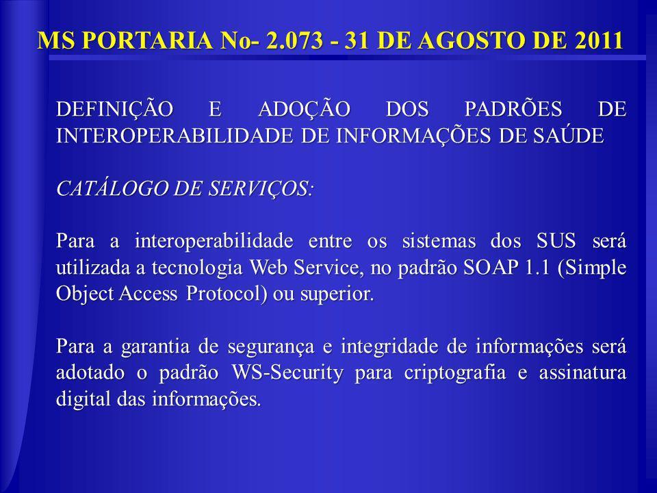 MS PORTARIA No- 2.073 - 31 DE AGOSTO DE 2011