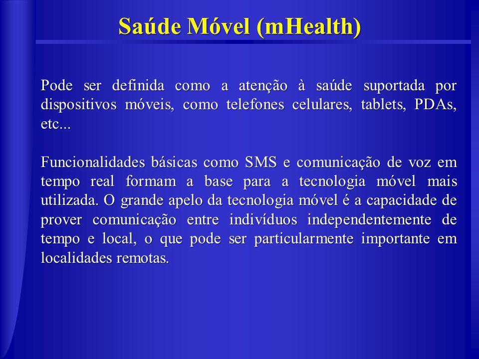 Saúde Móvel (mHealth) Pode ser definida como a atenção à saúde suportada por dispositivos móveis, como telefones celulares, tablets, PDAs, etc...