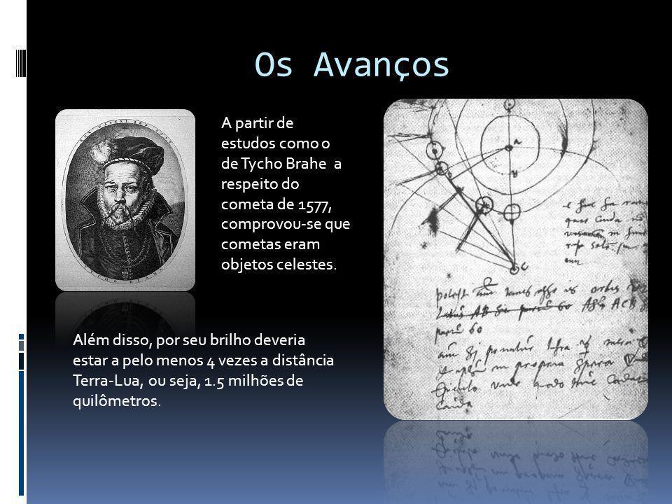 Os Avanços A partir de estudos como o de Tycho Brahe a respeito do cometa de 1577, comprovou-se que cometas eram objetos celestes.