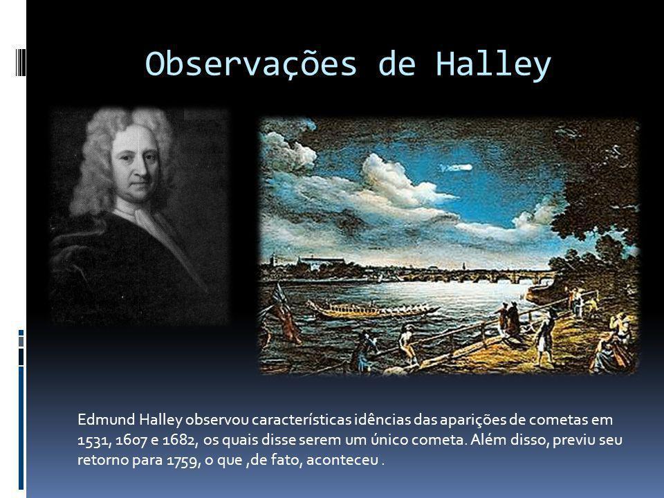 Observações de Halley Fonte das imagens: http://seds.org/messier/xtra/history/halley1759.html. http://astro.if.ufrgs.br/bib/huygens.htm.