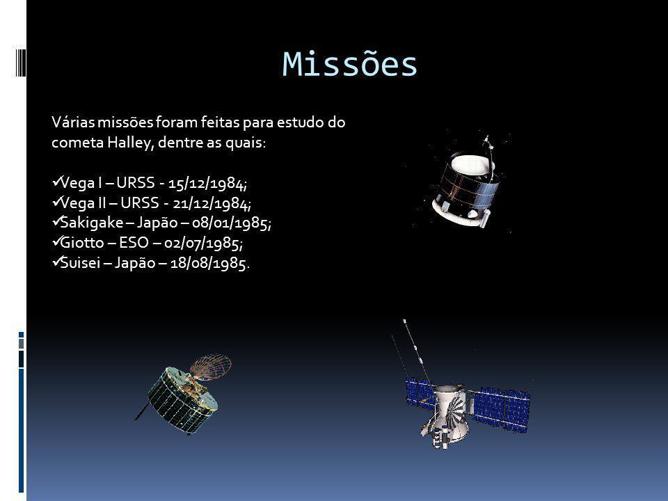 Missões Várias missões foram feitas para estudo do cometa Halley, dentre as quais: Vega I – URSS - 15/12/1984;