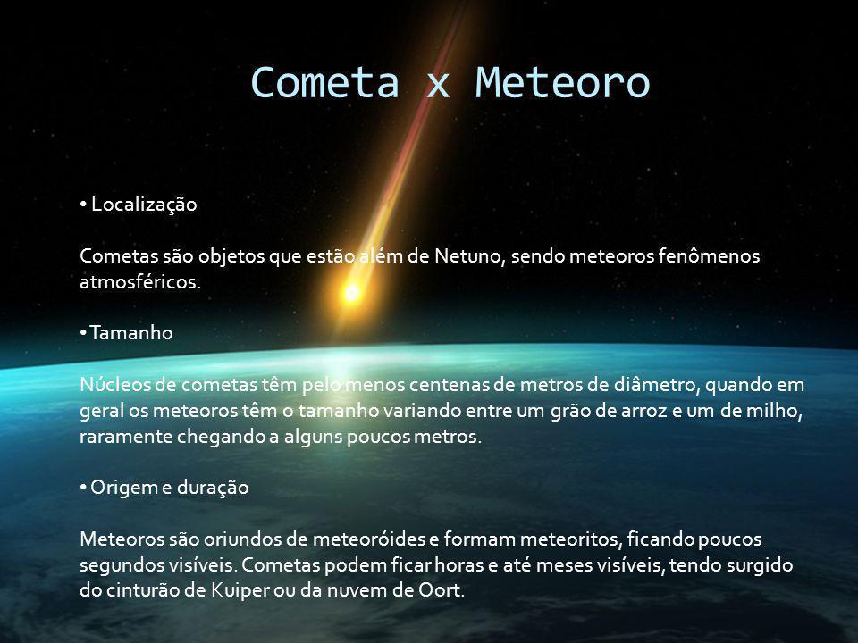 Cometa x Meteoro Localização