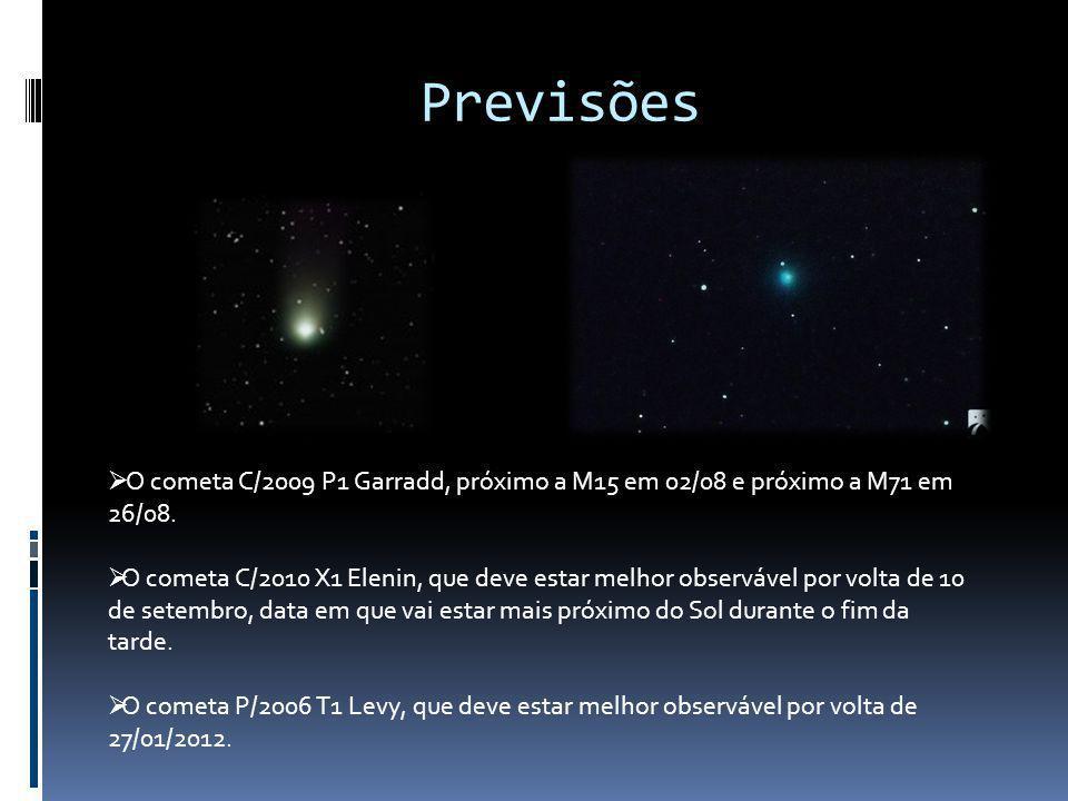 Previsões O cometa C/2009 P1 Garradd, próximo a M15 em 02/08 e próximo a M71 em 26/08.