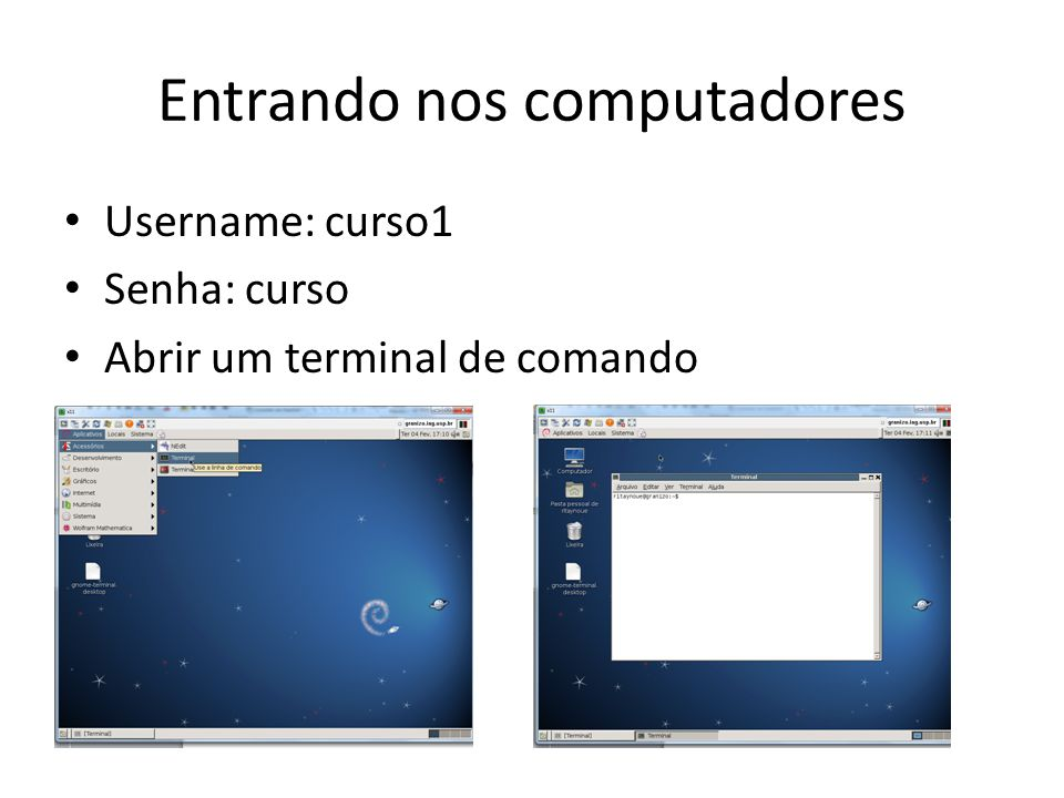 Entrando nos computadores