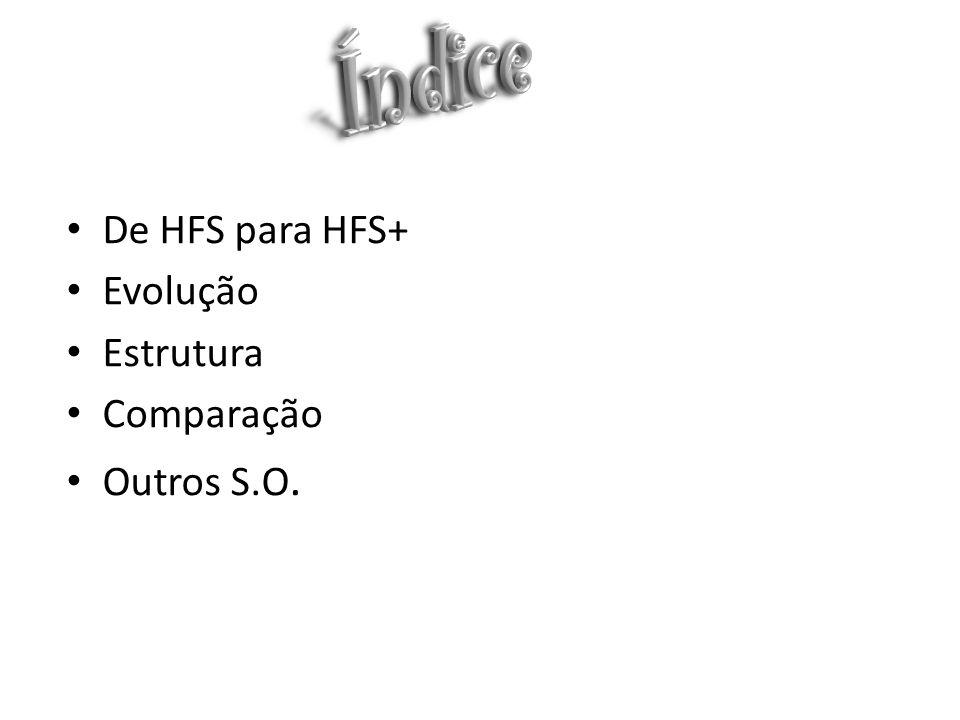 Índice De HFS para HFS+ Evolução Estrutura Comparação Outros S.O.