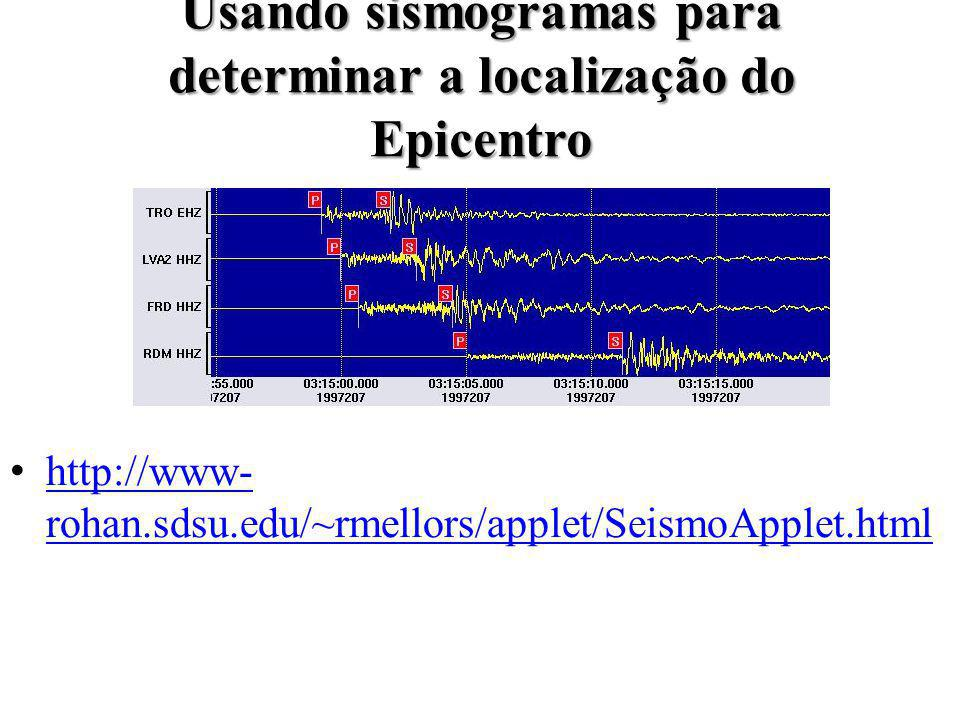 Usando sismogramas para determinar a localização do Epicentro
