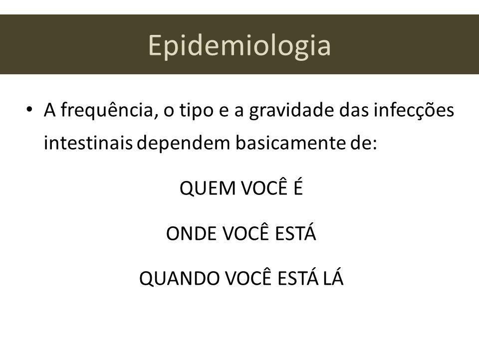Epidemiologia A frequência, o tipo e a gravidade das infecções intestinais dependem basicamente de: