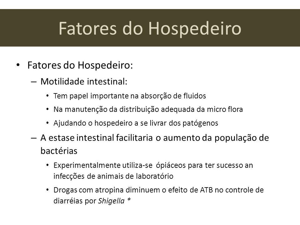 Fatores do Hospedeiro Fatores do Hospedeiro: Motilidade intestinal:
