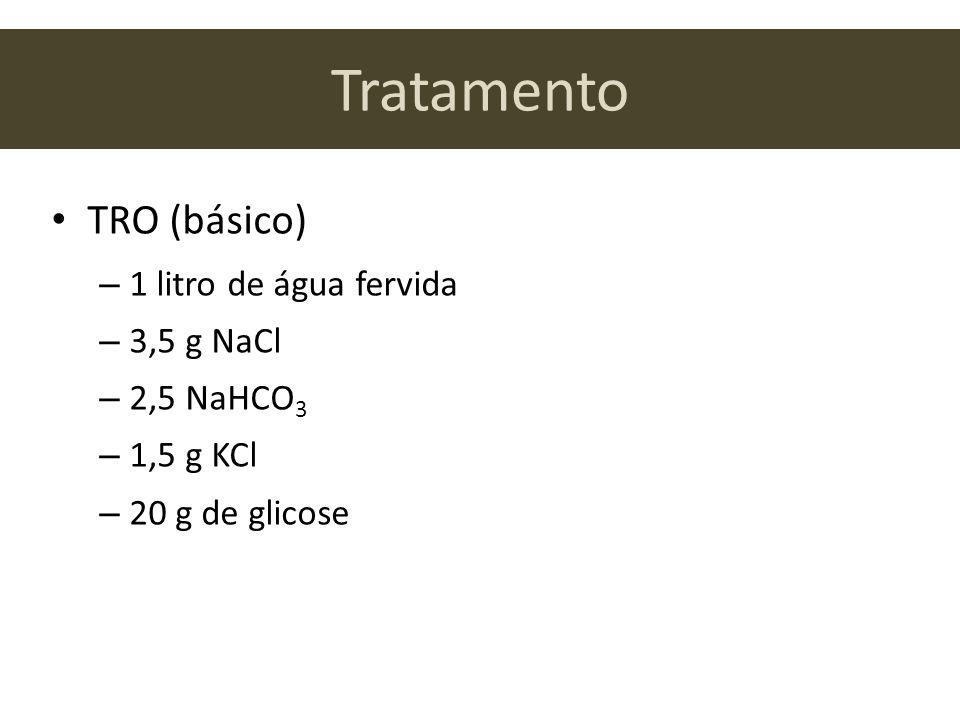 Tratamento TRO (básico) 1 litro de água fervida 3,5 g NaCl 2,5 NaHCO3