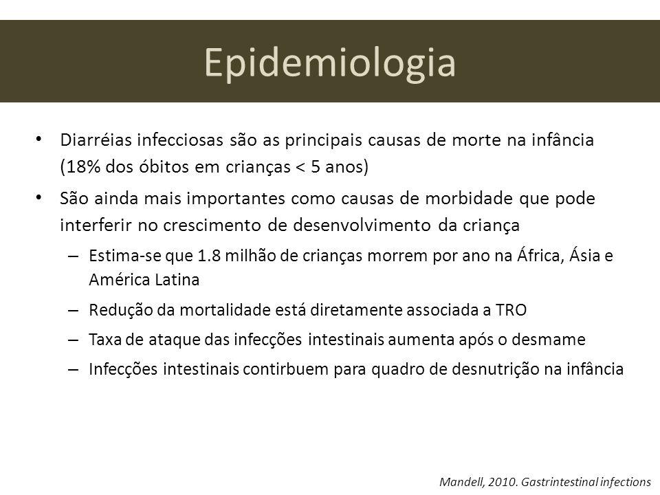 Epidemiologia Diarréias infecciosas são as principais causas de morte na infância (18% dos óbitos em crianças < 5 anos)