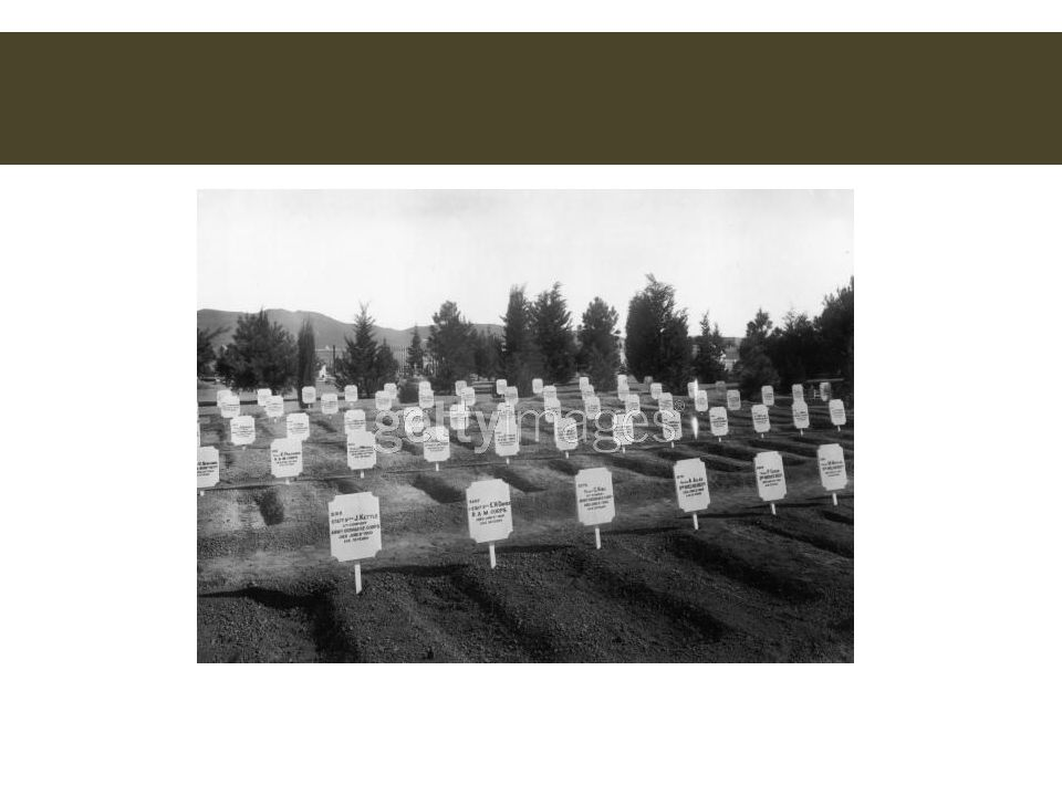 A cemetery of soldiers who died of enteric fever at De Aar during the Boer War.