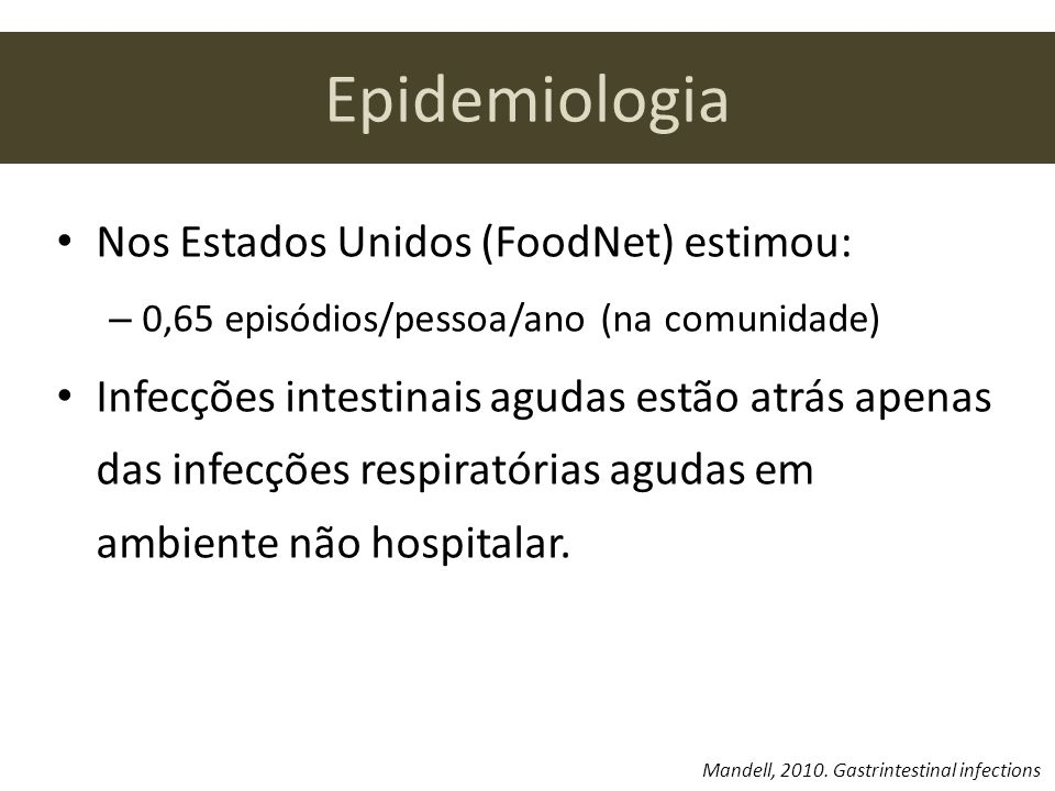 Epidemiologia Nos Estados Unidos (FoodNet) estimou: