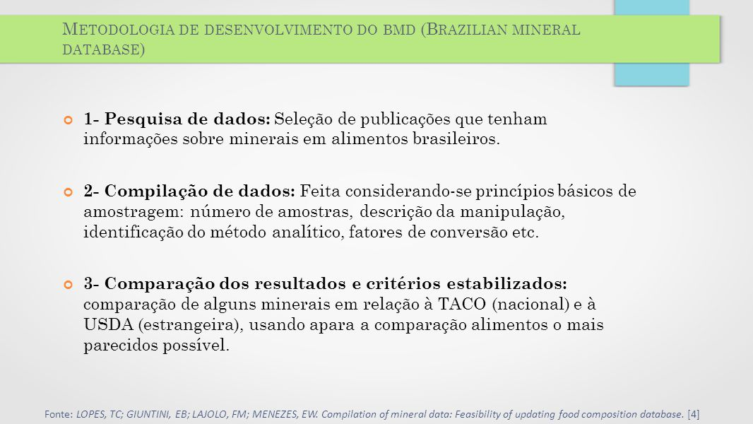 Metodologia de desenvolvimento do bmd (Brazilian mineral database)