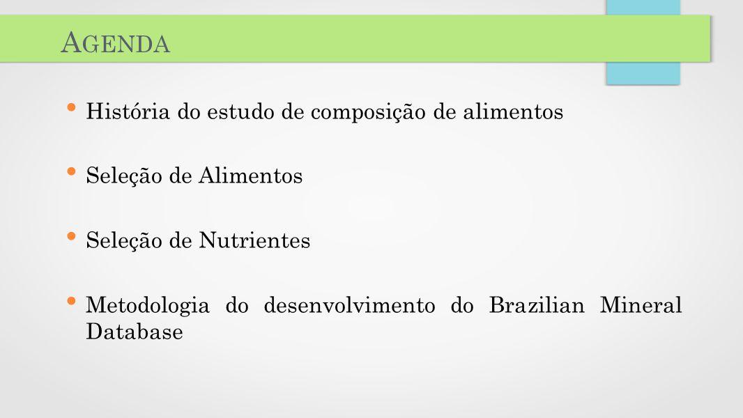 Agenda História do estudo de composição de alimentos