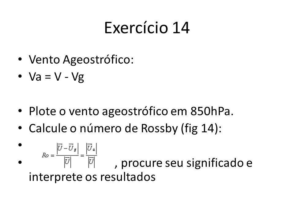 Exercício 14 Vento Ageostrófico: Va = V - Vg