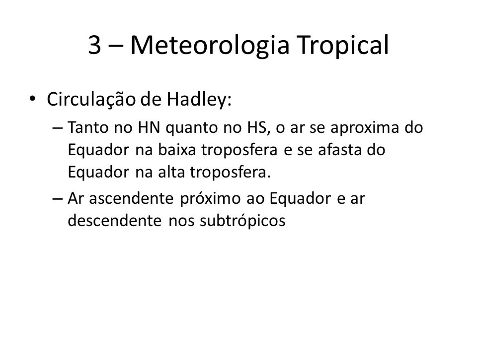 3 – Meteorologia Tropical