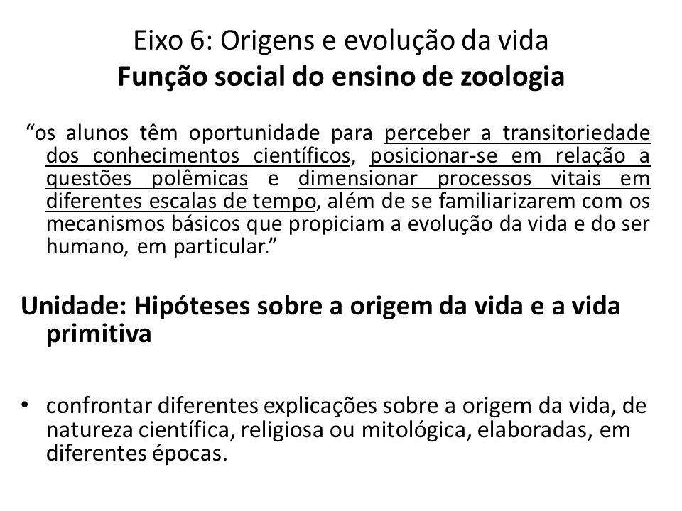 Eixo 6: Origens e evolução da vida Função social do ensino de zoologia