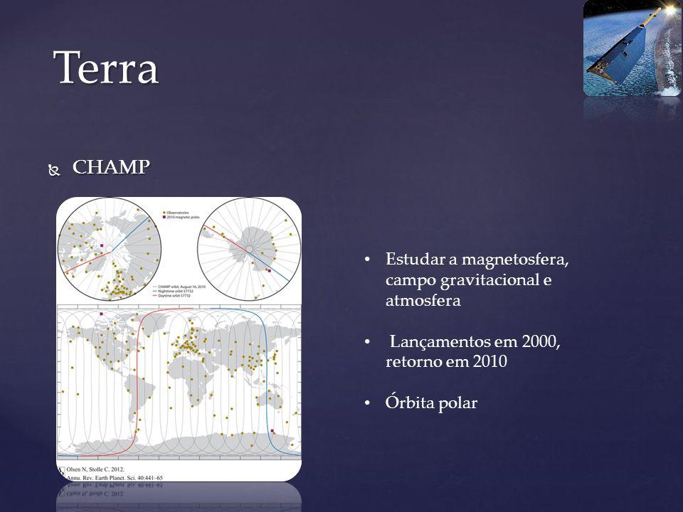 Terra CHAMP Estudar a magnetosfera, campo gravitacional e atmosfera