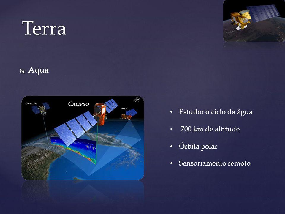Terra Aqua Estudar o ciclo da água 700 km de altitude Órbita polar