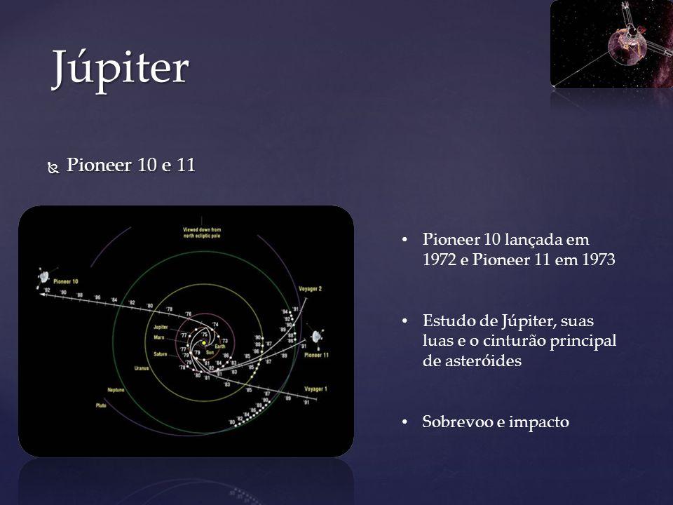 Júpiter Pioneer 10 e 11. Pioneer 10 lançada em 1972 e Pioneer 11 em 1973. Estudo de Júpiter, suas luas e o cinturão principal de asteróides.