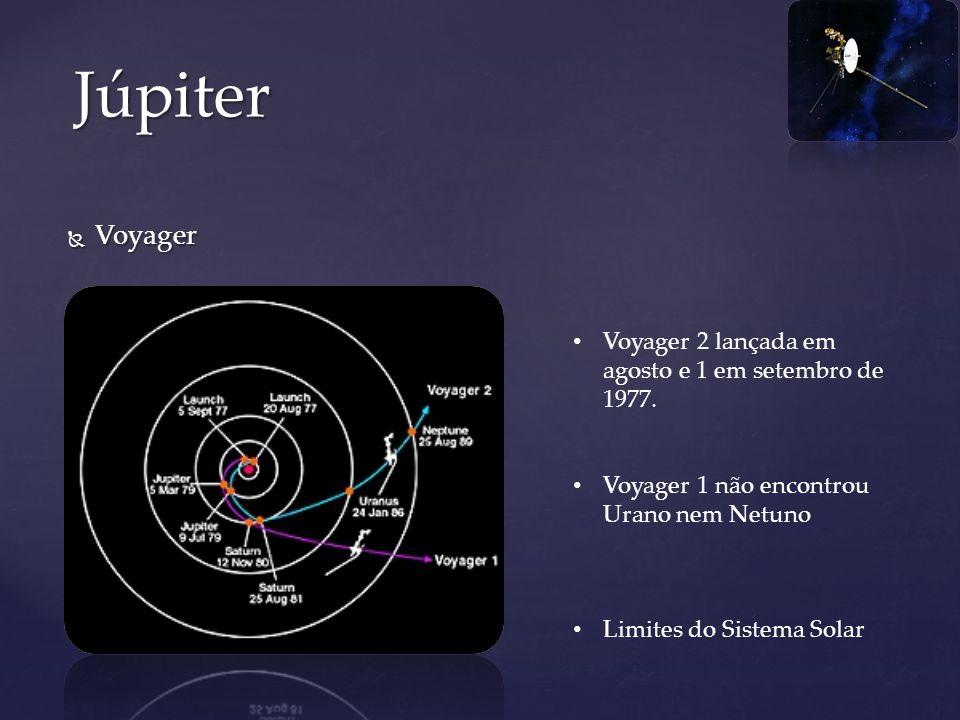 Júpiter Voyager Voyager 2 lançada em agosto e 1 em setembro de 1977.