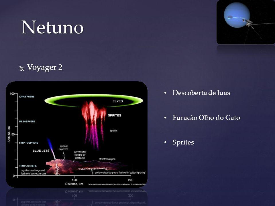 Netuno Voyager 2 Descoberta de luas Furacão Olho do Gato Sprites