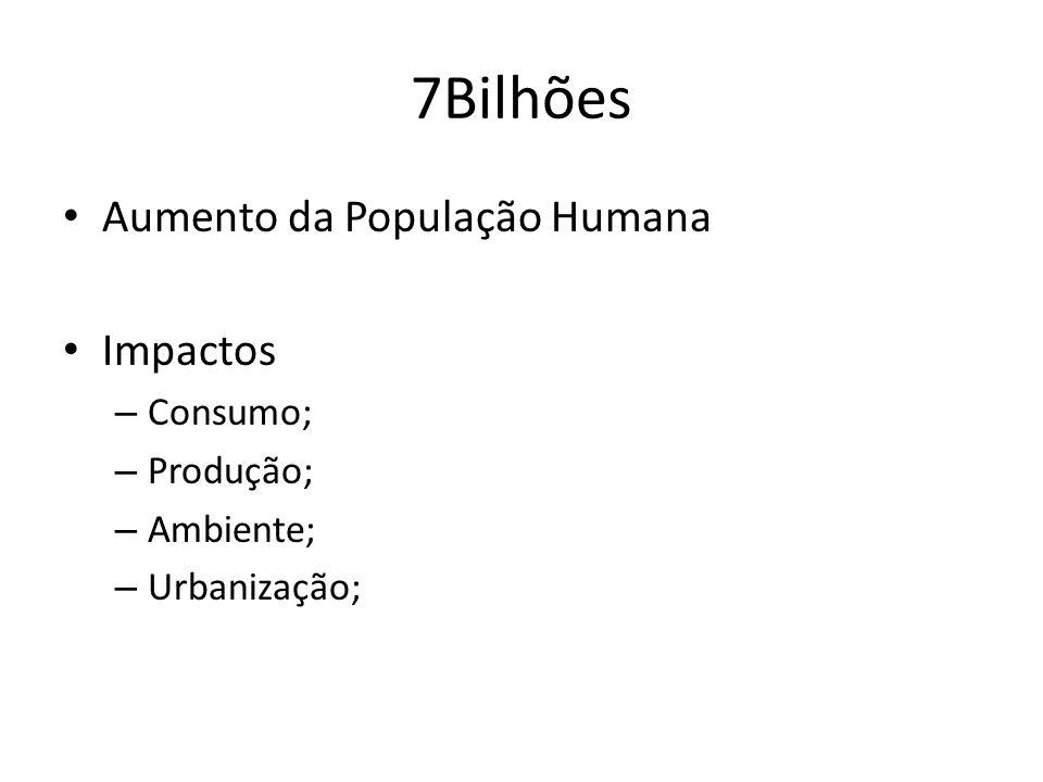 7Bilhões Aumento da População Humana Impactos Consumo; Produção;