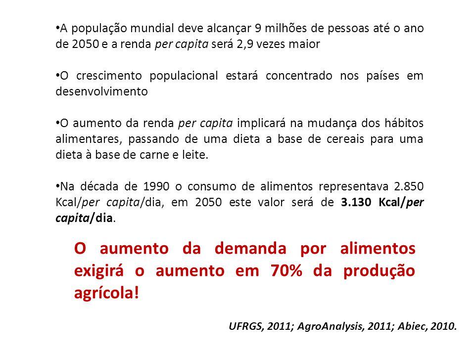 A população mundial deve alcançar 9 milhões de pessoas até o ano de 2050 e a renda per capita será 2,9 vezes maior