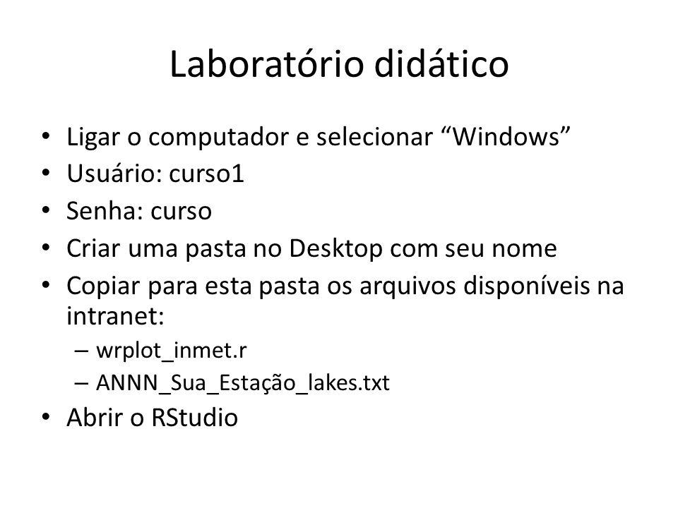 Laboratório didático Ligar o computador e selecionar Windows