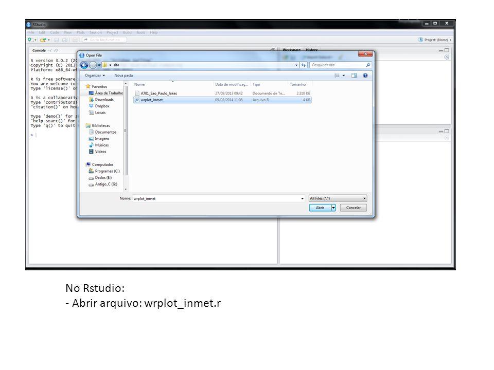 No Rstudio: - Abrir arquivo: wrplot_inmet.r