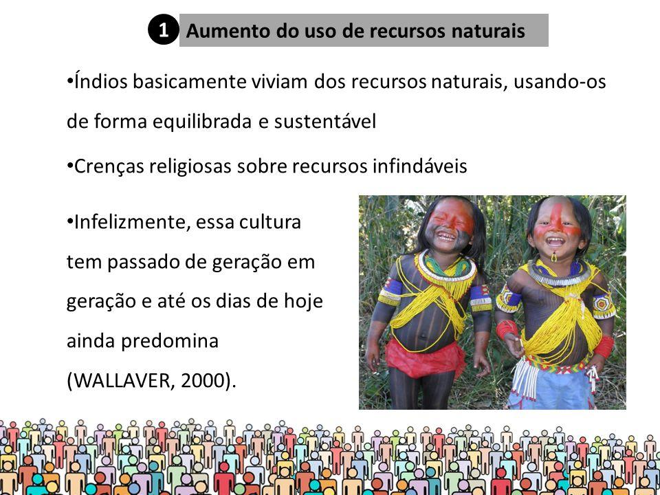 1 Aumento do uso de recursos naturais. Índios basicamente viviam dos recursos naturais, usando-os de forma equilibrada e sustentável.