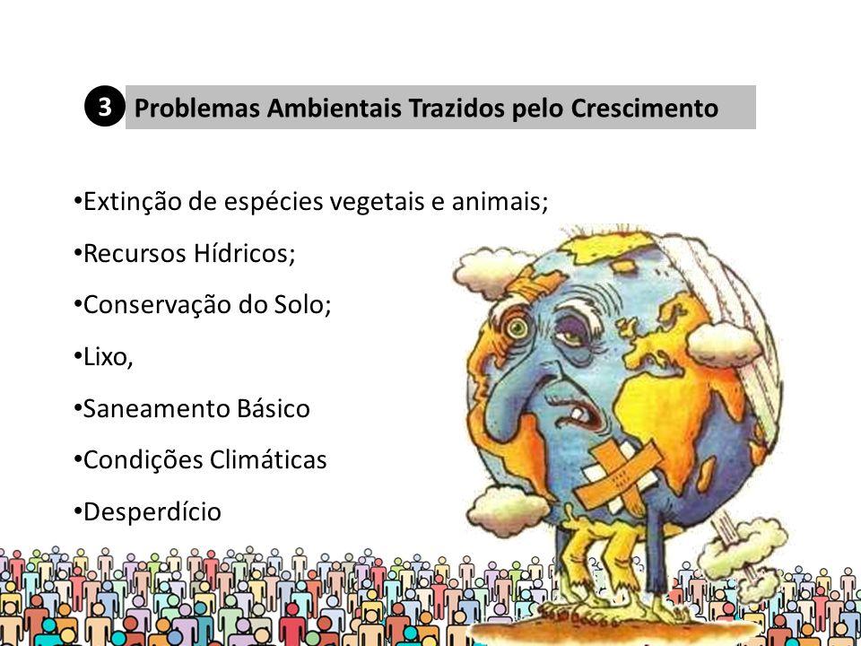 3 Problemas Ambientais Trazidos pelo Crescimento. Extinção de espécies vegetais e animais; Recursos Hídricos;