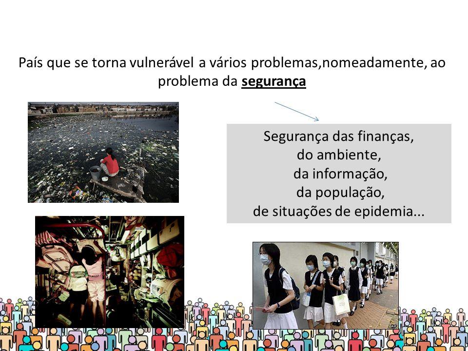 Segurança das finanças, do ambiente, da informação, da população,