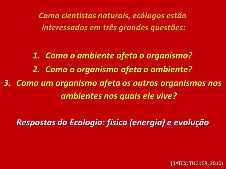 Como o ambiente afeta o organismo Como o organismo afeta o ambiente