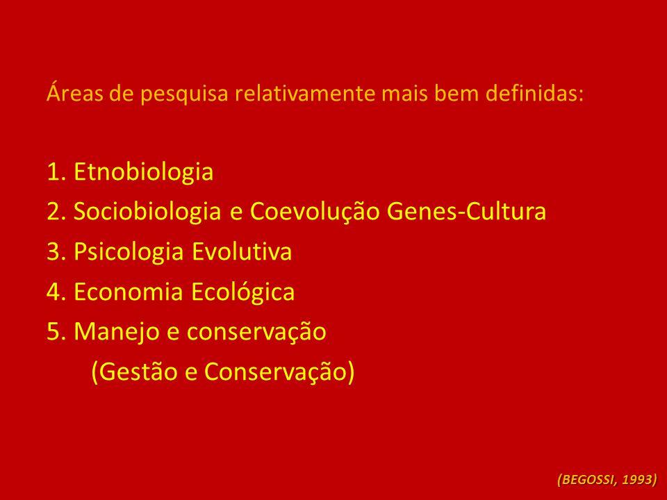 2. Sociobiologia e Coevolução Genes-Cultura 3. Psicologia Evolutiva