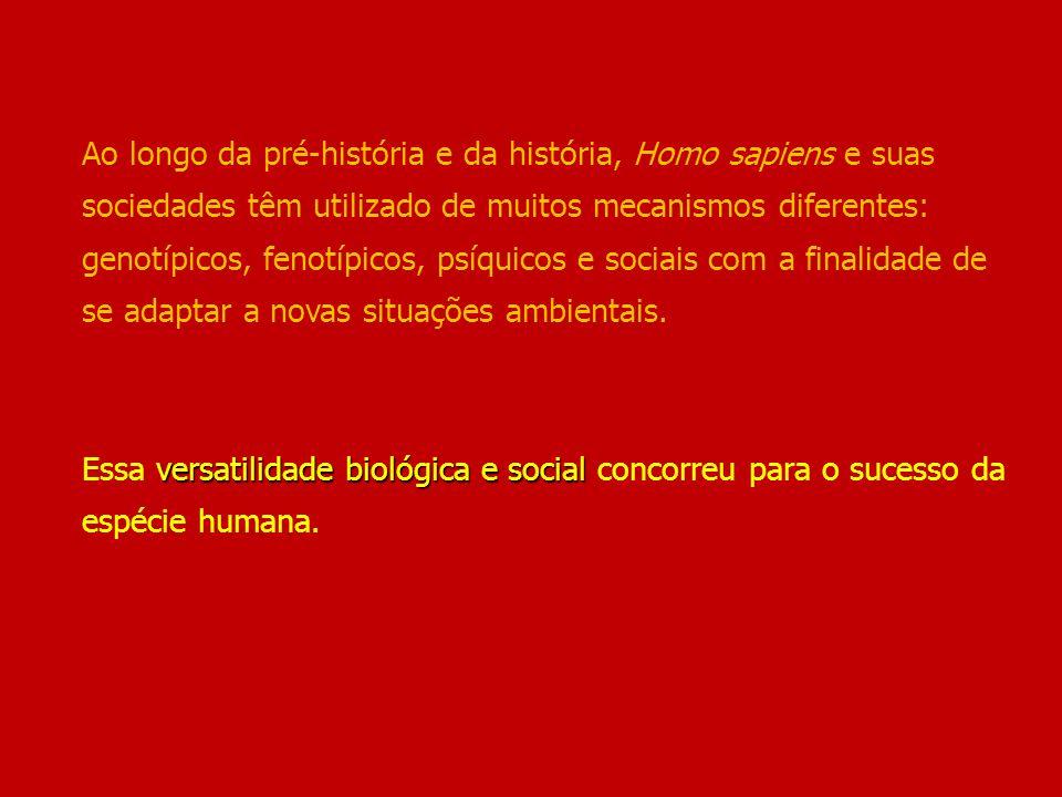 Ao longo da pré-história e da história, Homo sapiens e suas sociedades têm utilizado de muitos mecanismos diferentes: genotípicos, fenotípicos, psíquicos e sociais com a finalidade de se adaptar a novas situações ambientais.