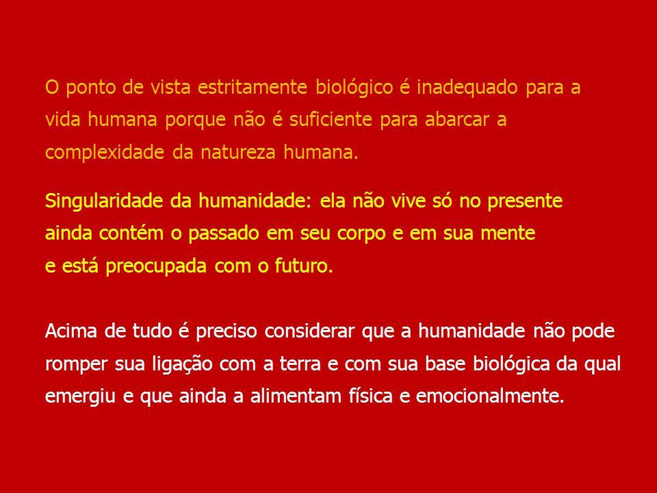 O ponto de vista estritamente biológico é inadequado para a vida humana porque não é suficiente para abarcar a complexidade da natureza humana.