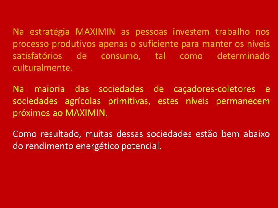 Na estratégia MAXIMIN as pessoas investem trabalho nos processo produtivos apenas o suficiente para manter os níveis satisfatórios de consumo, tal como determinado culturalmente.