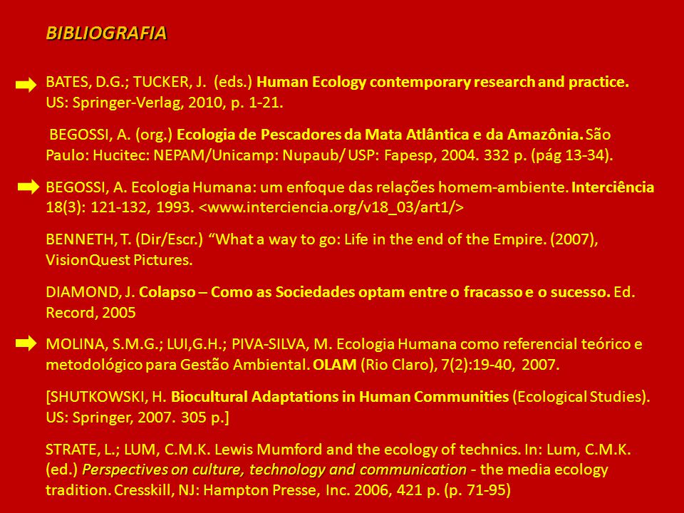BIBLIOGRAFIA BATES, D.G.; TUCKER, J. (eds.) Human Ecology contemporary research and practice. US: Springer-Verlag, 2010, p. 1-21.