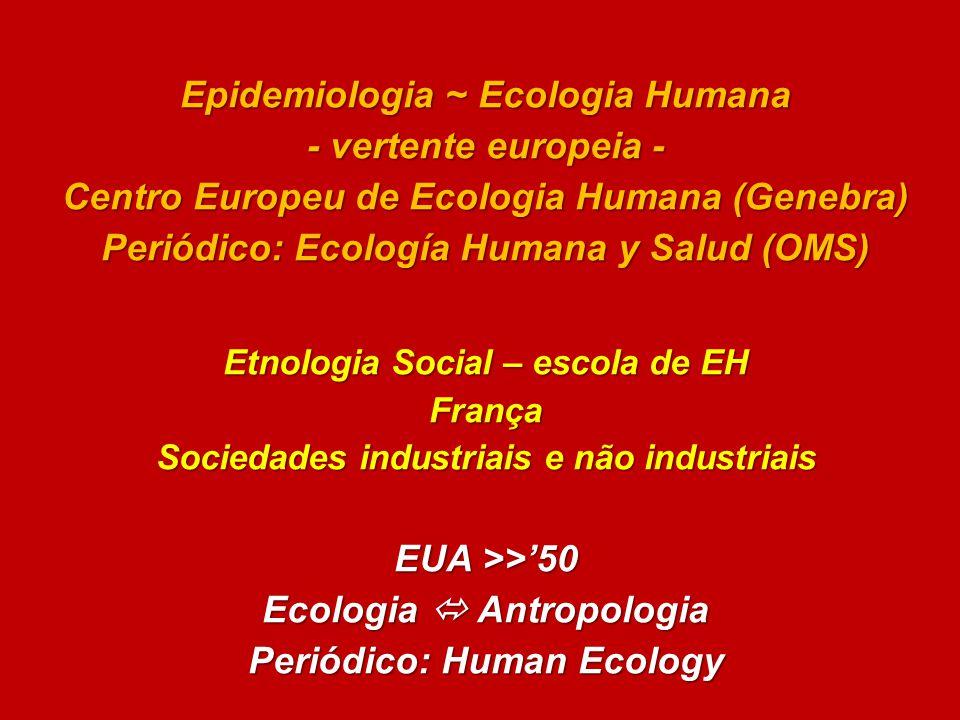 Epidemiologia ~ Ecologia Humana - vertente europeia -