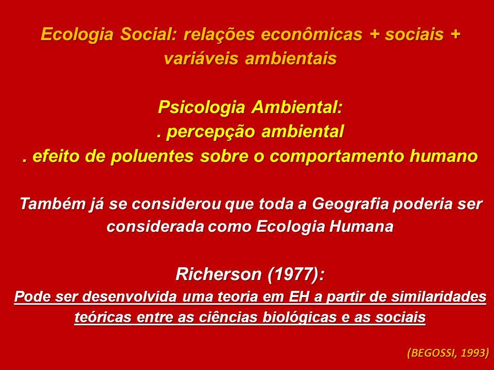 Ecologia Social: relações econômicas + sociais + variáveis ambientais