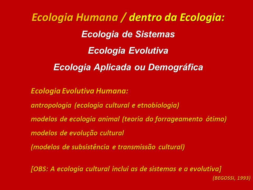 Ecologia Humana / dentro da Ecologia: Ecologia Aplicada ou Demográfica