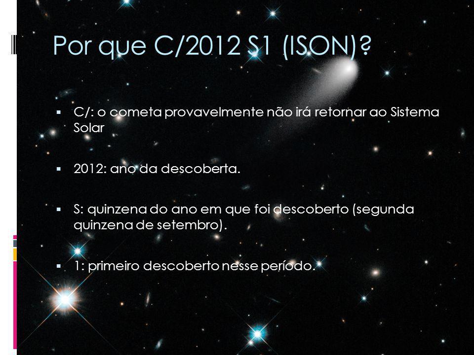 Por que C/2012 S1 (ISON) C/: o cometa provavelmente não irá retornar ao Sistema Solar. 2012: ano da descoberta.