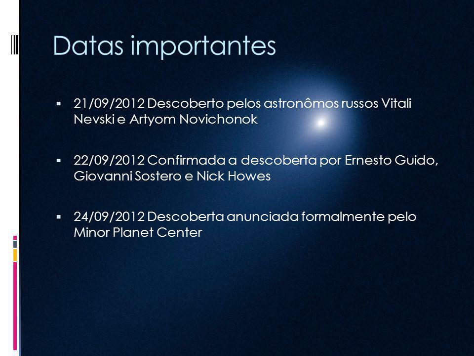Datas importantes 21/09/2012 Descoberto pelos astronômos russos Vitali Nevski e Artyom Novichonok.