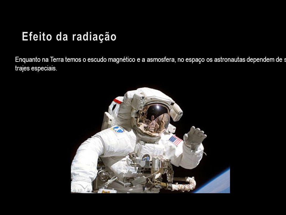 Efeito da radiação Enquanto na Terra temos o escudo magnético e a asmosfera, no espaço os astronautas dependem de seus trajes especiais.